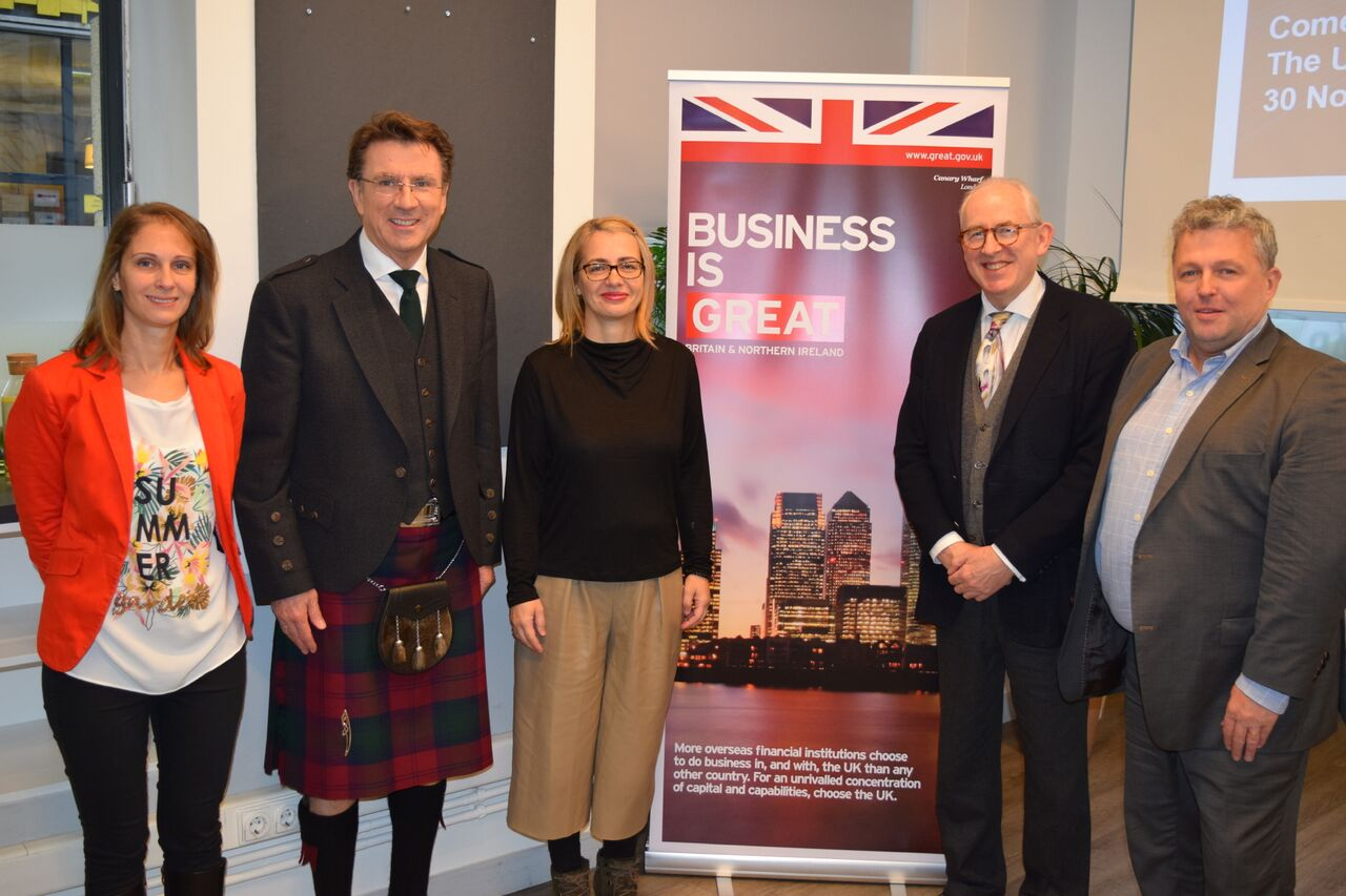 From left to right: Krisztina Görög, Director, Foreign Direct Investment, DIT Central Europe Network of the British Embassy, Iain Lindsay OBE, the British Ambassador in Hungary, with Whitereport's Kinga Incze, Hamish Sandison and Phil McCauley in Budapest.