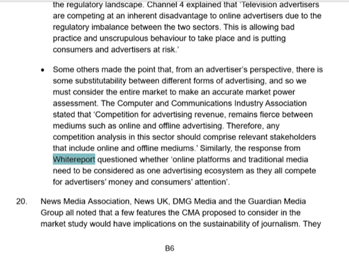 Whitereport in UK Competition and Market Authority consultation