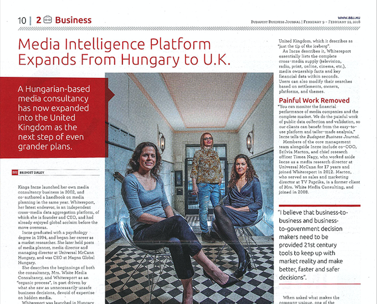 Whitereport in Budapest Business Journal