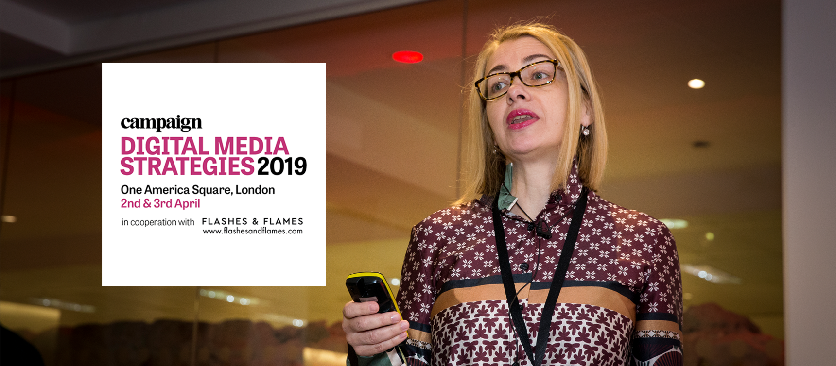 Kinga Incze speaking at Digital Media Strategies 2019 Conference